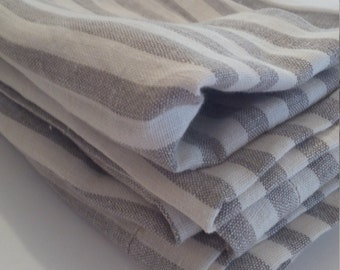 Rustic Washed Linen Striped Dinner Napkins Set of 4