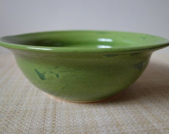 Bright Green Pottery Serving Bowl