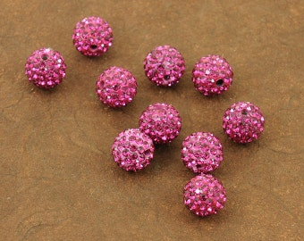 Fuchsia Dark Pink Sparkling 10mm Pave Beads - Incredible Sparkle & Lightweight Bead - 5 Beads