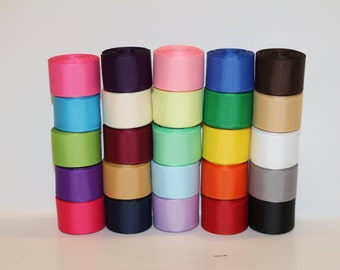 """7/8""""(22mm) Grosgrain Ribbon Lot (Choose  1 or 2 Yard Each of  25 Different Colors)"""