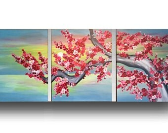 Cerry Blossom painting - landscape painting, acrylic wall painting, Sunset painting, cherries in pink and red by Sami