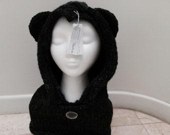 Hand Knit Bear Cowl Balaclava