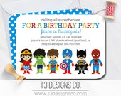 SUPERHERO and SUPER GIRL Birthday Invitation, birthday invite, superhereos, supergirl, boy and girl party, birthday party, birthday