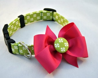 Floral Lime Collar with Bow
