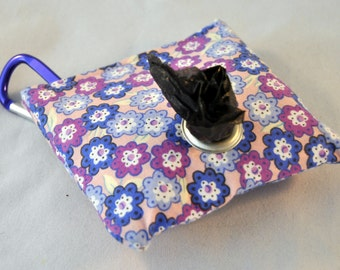 Purple Floral Poop Bag Pouch