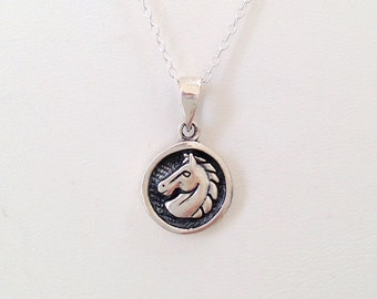 Sterling Silver Horse Medallion Necklace