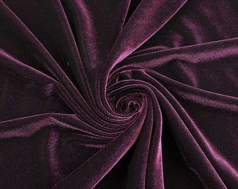Eggplant Stretch Velvet Fabric by the yard or wholesale  - 1 Yard Style 1001