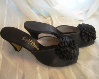 Pair of Vintage Black Satin Peep Toe Boudoir Mules, Daniel Green, ca 1950s