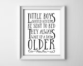 """INSTANT DOWNLOAD 8X10"""" Printable digital art file """"Little boys should never be sent to bed"""" Peter Pan -nursery - Black and white - SKU:712"""