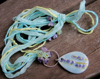 Ceramic necklace; Lavender Field Necklace; Lavender; Floral