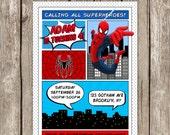 Spiderman Invitation - SuperHero Spiderman Birthday Party - Printable