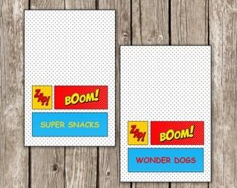 Superhero Food Labels - Superhero Birthday Party - DIY Printable - Editable Instant Download