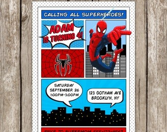 Spiderman Invitation - SuperHero Spiderman Birthday Party - Printable
