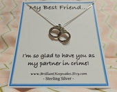 My best friend gift idea my partner in crime sterling silver handcuff charm jewelry