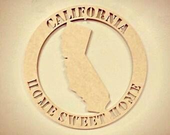 Wooden Framed Monogram, Home State Wall Art California Home Sweet Home