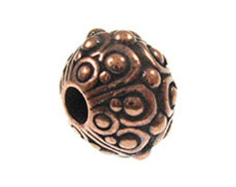 5 Pc Large Hole Bead 10mm Antique Copper Finish Oasis 2.5mm Large Hole Beads, Lead Free Tierracast pewter, 94-5716  - P5716CA