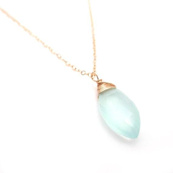 Light Blue Chalcedony Pendant Necklace