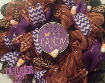 ON SALE Candy Corn Halloween Wreath