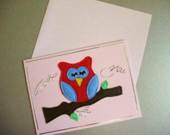 Sleeping Owl, Thank You Card, owl card, greeting card, woodland owl, blank card, felt owl, felt card, notelets, fabric card, bird card
