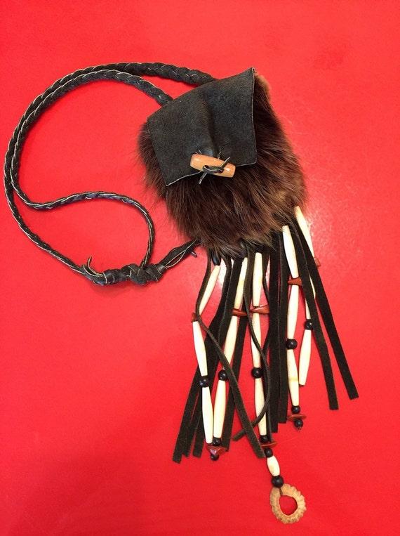 Vintage fanny pack 70s boho fur and suede tiny purse handmade navajo style waist handbag festival style native look bag hippy