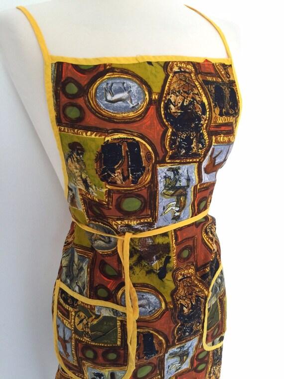 Vintage novelty print apron roman relics paintily pattern full pinny 1950s 60s cotton handmade