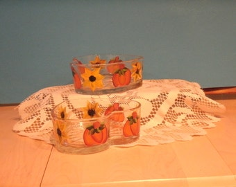 PUMPKIN AND SUNFLOWER candy dish, heart shaped, set of two