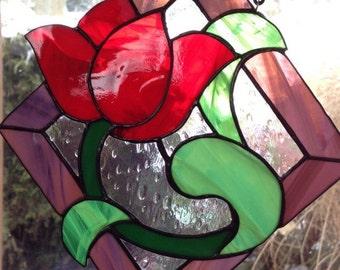Handmade Stained Glass Red Tulip Flower Sun Catcher Window Art Decoration