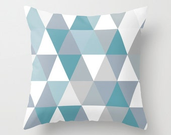 Sky blues decorative throw pillows triangle pillow cover home decor geometric art summer spring coloros triangle pattern