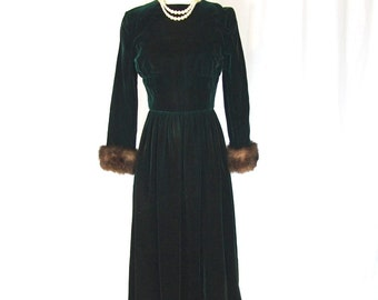 1960 Emerald Green Velvet Fur Gown