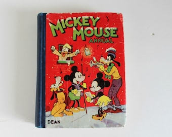 Disney Annual, Vintage Disney Book, Mickey Mouse Annual, 1940s, Collectable Book, Illustrated Children's Storybook, UK Edition