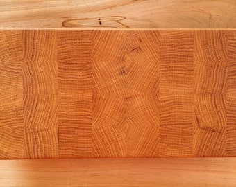 FREE SHIPPING // White Oak End Grain Cutting Board with handles serving tray cheese plate serving platter
