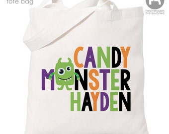 Personalized Trick or Treat Bag - Personalized Candy Monster Bag - Personalized Halloween Trick or Treat Tote Bag  Ask a Question