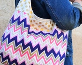 Metallic Gold, Blue, Pink Slouch Bag