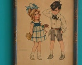 Drawing Image Print of Boy and Girl in the 1930s 1940s, framed