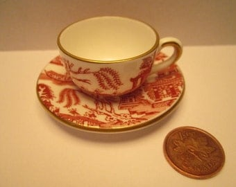 Coalport ,England RED WILLOW Mini Cup and Saucer.Discontinued.