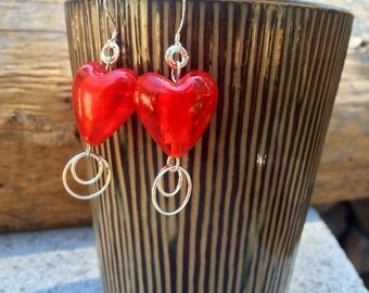 Red Heart Dangle Earrings with Silver Accents