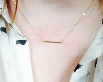 Gold-filled Hammered Bar Necklace
