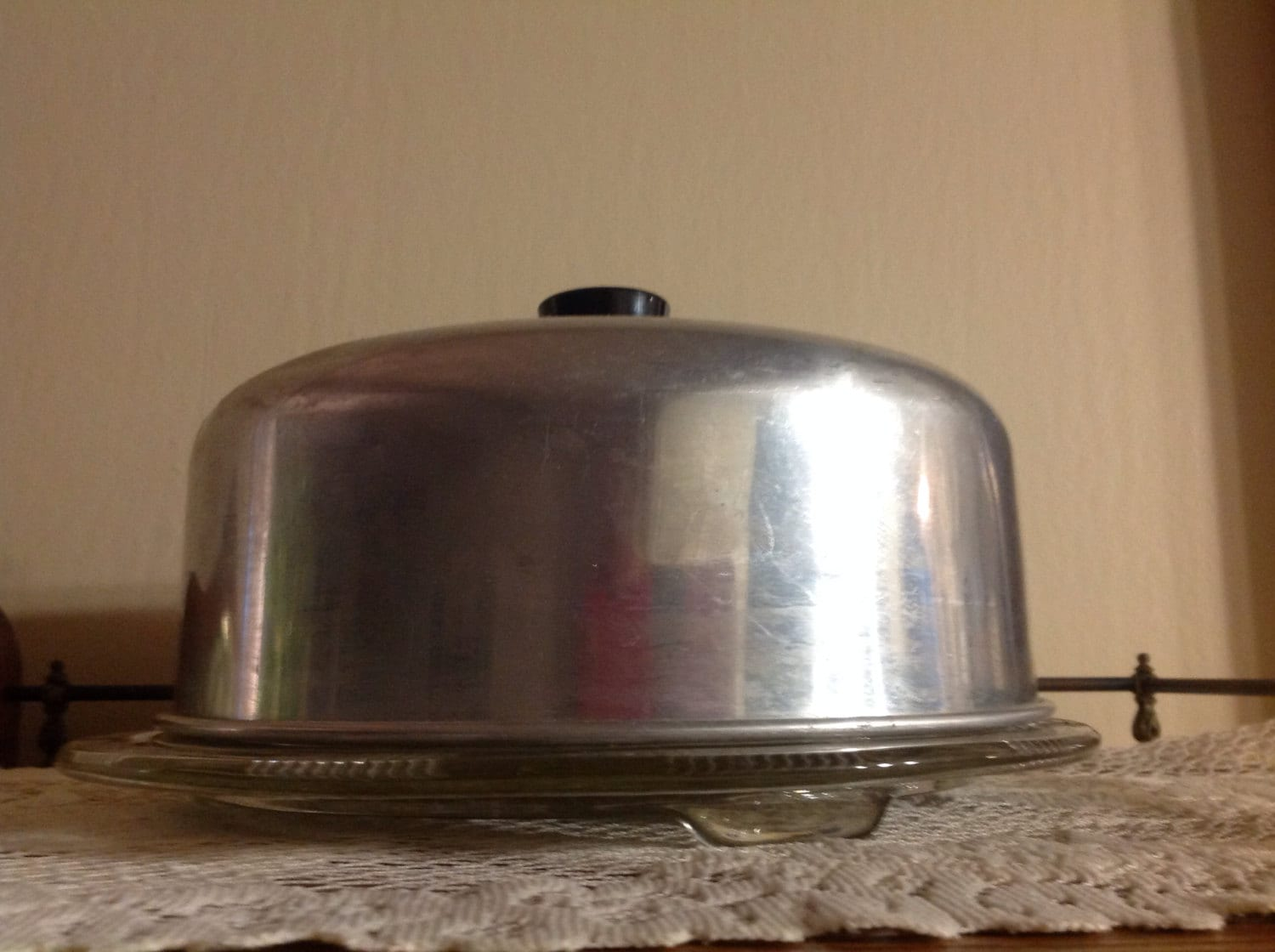 Vintage Cake Plate With Lid Aluminum Cake Dome Glass Cake