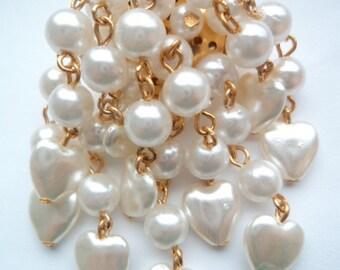 Vintage Fabulous Hearts White Faux Pearl Waterfall Brooch/Pin