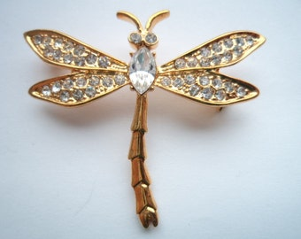Vintage Goldtone/Clear Rhinestone Dragonfly Brooch/Pin