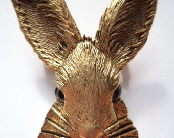 Vintage Signed JJ  Gold pewter Rabbits Head Brooch/Pin
