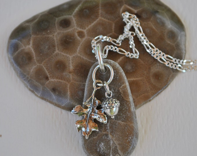 Petoskey Stone necklace with sterling oak leaf and acorn charms, Michigan necklace, Up North
