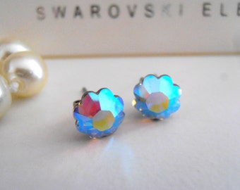 Swarovski Studs, Aurora Borealis, Daisy Flower, 6mm Crystal, Dainty, Delicate, Flatback Post Earrings with Surgical steel Pads