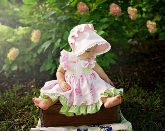 Buy 2 Get 1 Free...Ruthie's Picnic Dress Girl's Retro Ruffled Bodice ..Instant Download PDF Sewing Pattern, 6-12m to 8