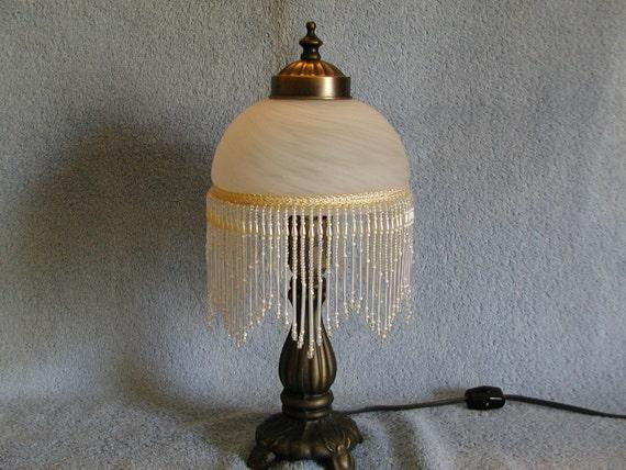 Boudoir Lamp Glass Shade and Beaded Fringe