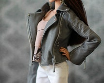 Gray leather biker jacket for Fashion Royalty FR2 with full satin lining and functional tiny zippers.