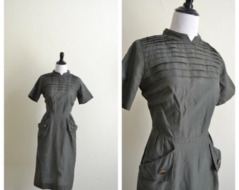 1950s 1960s Jack Mann Army Green Wiggle Dress
