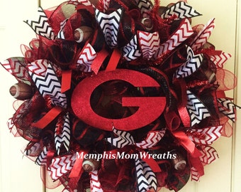 University of Georgia Deco Mesh Wreath - Deco Mesh Wreath - UGA Wreath