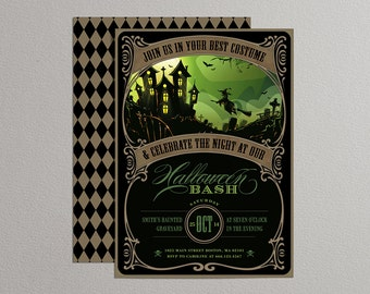 Printable Halloween Invitation in black and green - DIY party invitation