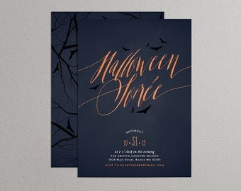 Printable Halloween Invitation - Halloween Soiree Invitation - Halloween Soirée Invitation (Blue)